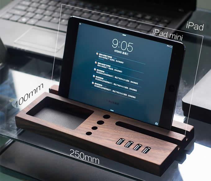 Wooden Desktop Organizer Computer Desk Accessories With 3 Port USB Hub
