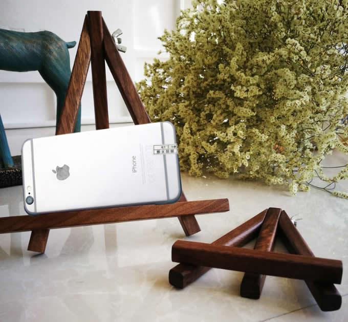 Black Walnut Wooden Mini Tripod Display Stand