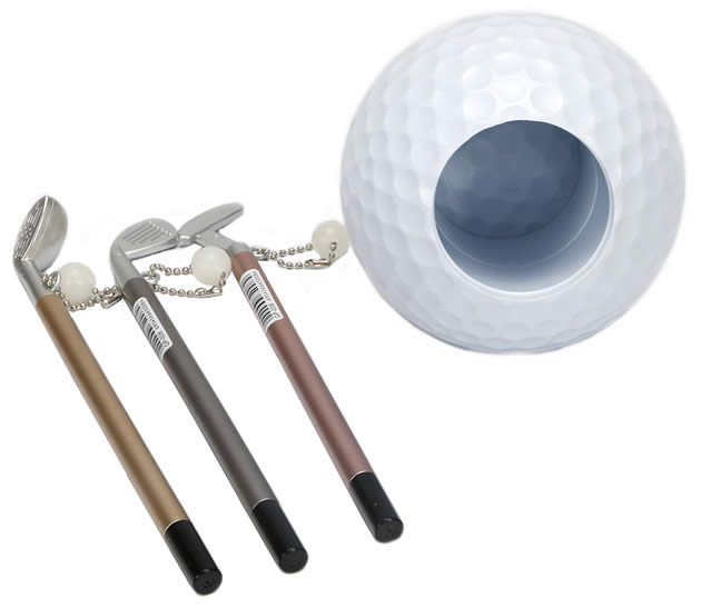 Creative golf desktop learning and organizing pen holder