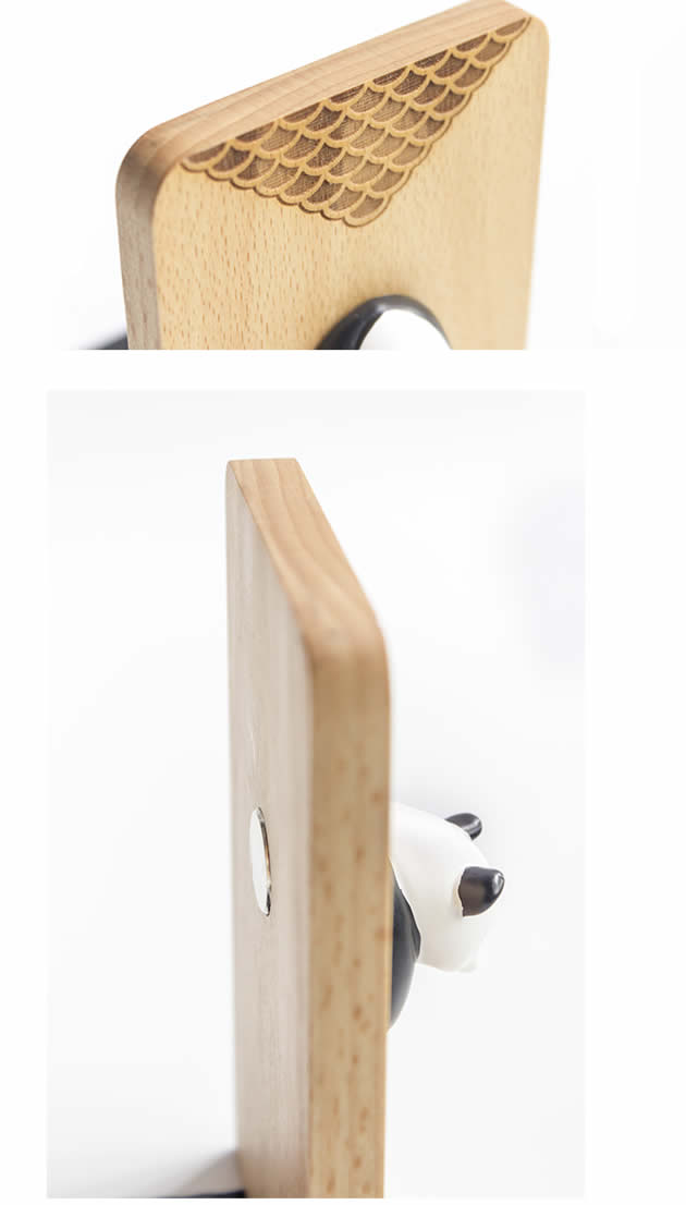 Cute Panda Wooden Office Learning Book Stand bookends