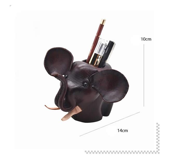 Cute Handmade Small Elephant Cowhide Leather Pen Holder