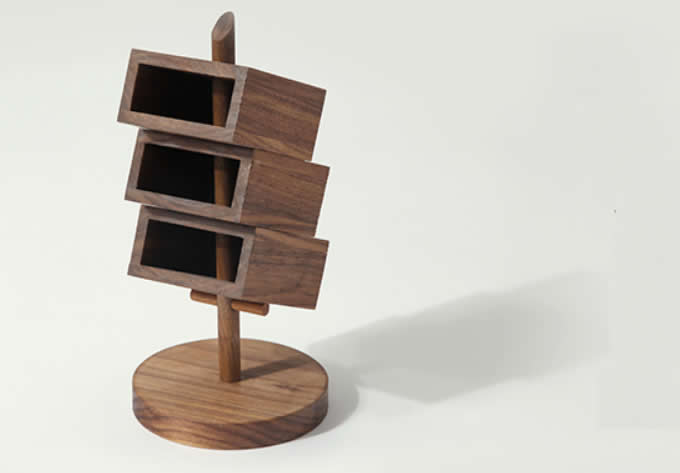 3 Tier Wooden Office  Desk Organizer,Black walnut