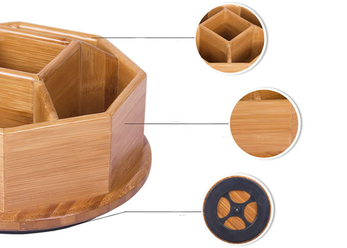 360 Degree Bamboo Rotation Office Supplies Storage Container