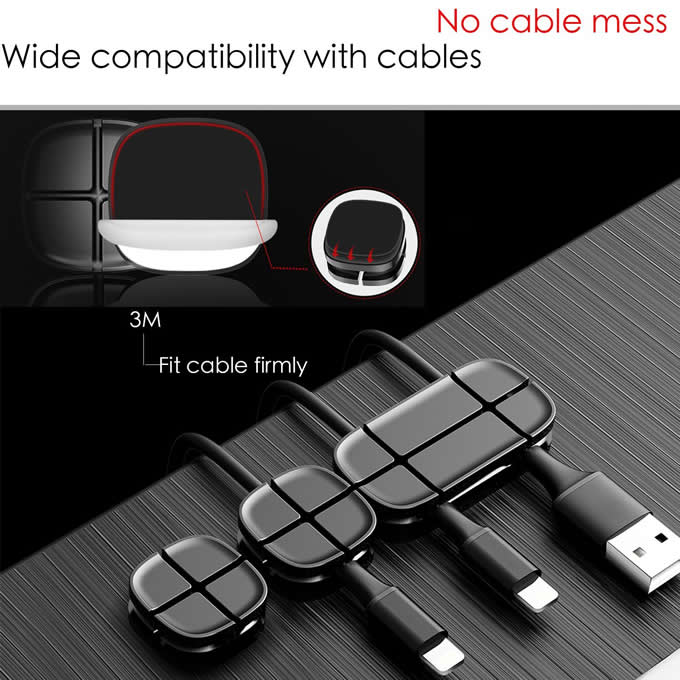 3M Self Adhesive Desktop Silicone Cable Clip USB Wire Holder Cord Cable Management System