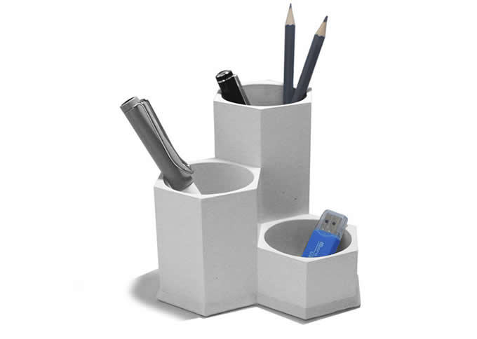 5 Compartment Concrete Office Desk Organizer