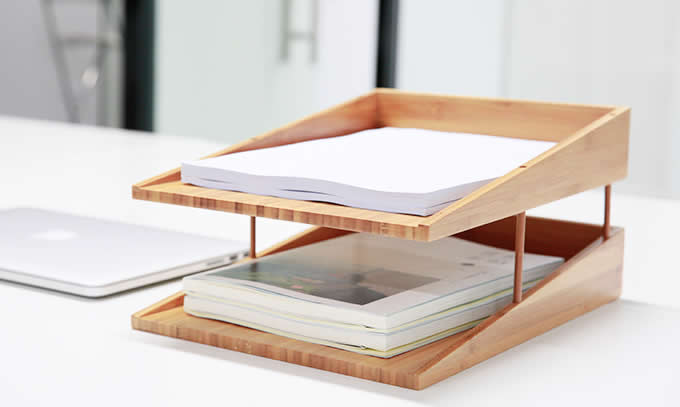 Bamboo 3 Tier Desk Organizer Tray Letter File Holder