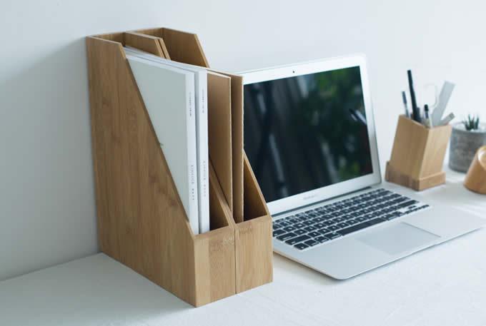 Bamboo Desk Office Magazine Amp A4 File Folder Organizer