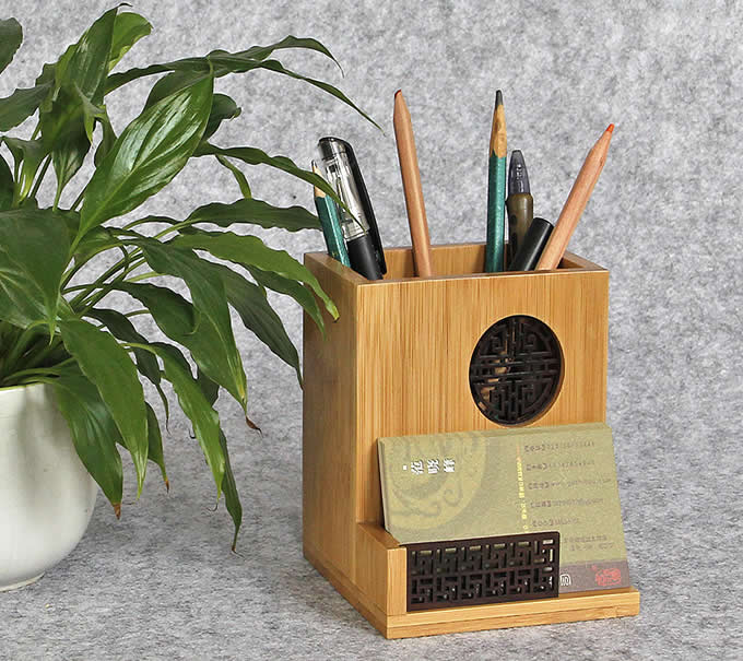 Bamboo Desktop Office Supplies Organizer Pencil Pens