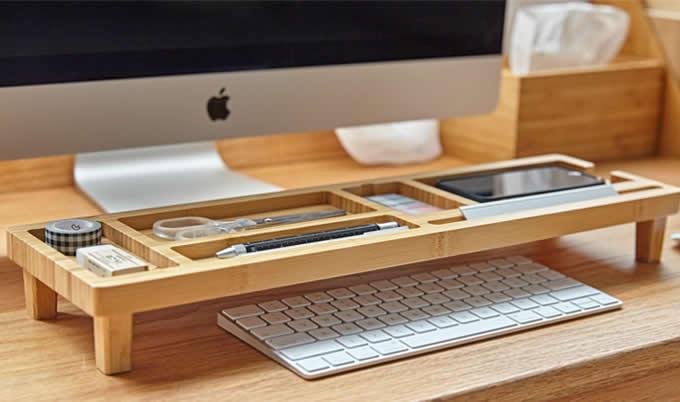 Stand Up Desk >> Bamboo Wooden Desktop Organizer Over the Keyboard - FeelGift