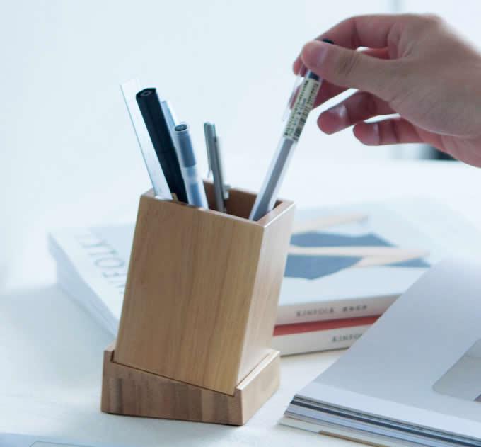Bamboo Wood Desk Pen Pencil Holder