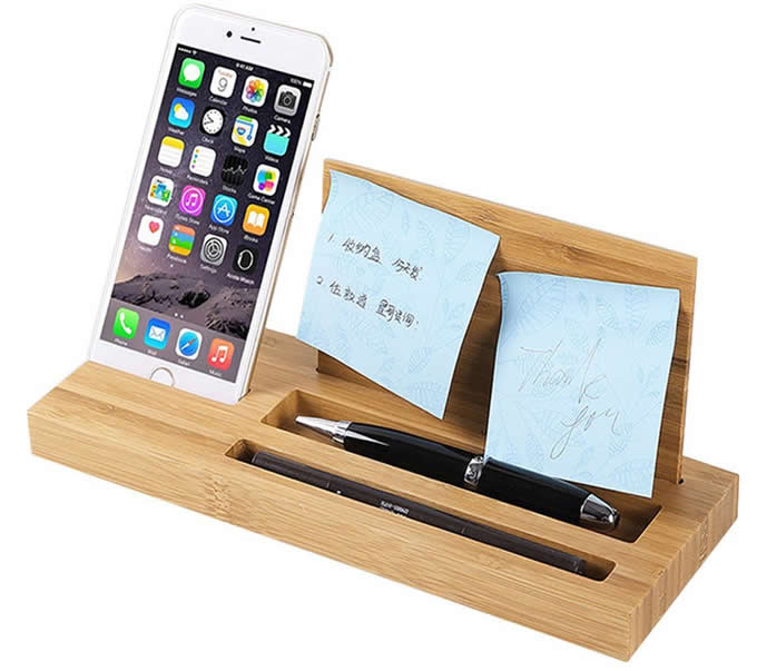 Bamboo Wood Office Desk Organizer Mobile Phone Stand