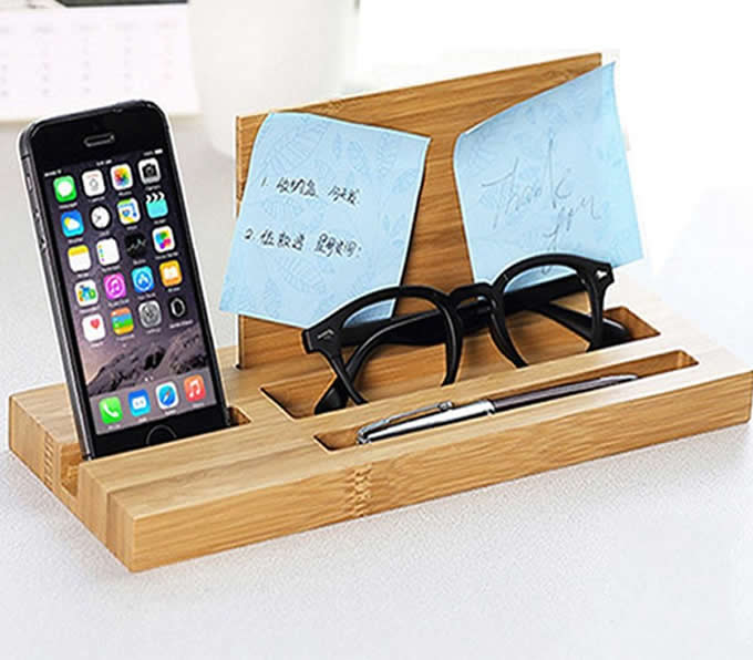 bamboo wood office desk organizer mobile phone stand - feelgift