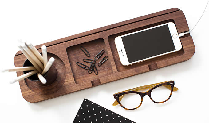 Bamboo  Wooden Multi-Function Desktop Organizer