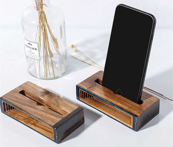 Black Walnut Wooden Sound Louder Cell Phone Table Stand Amplifier Holder for  iPhone Android Smartphone