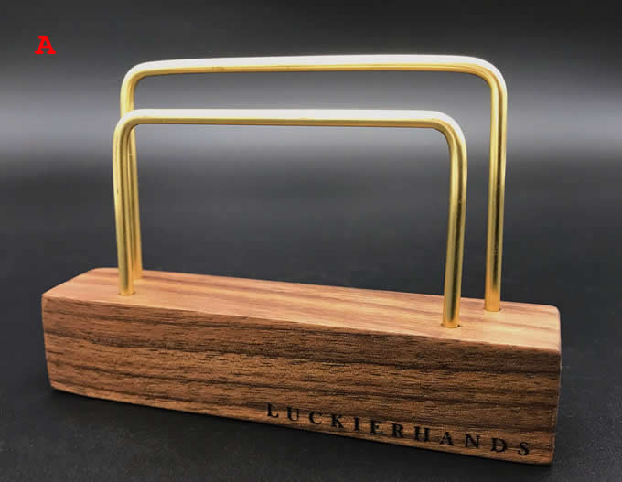 Brass Business Card Holder with Wooden Base