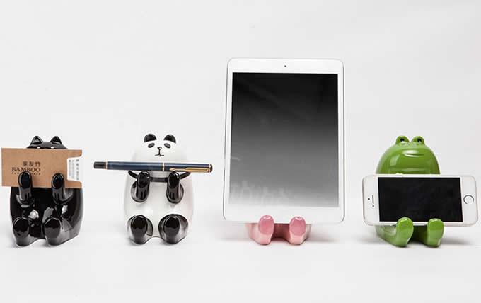 Ceramic Animal Piggy Bank Cell Phone Stand Holder