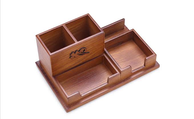 Wooden Desk Accessory Storage Organizer Pen Holder