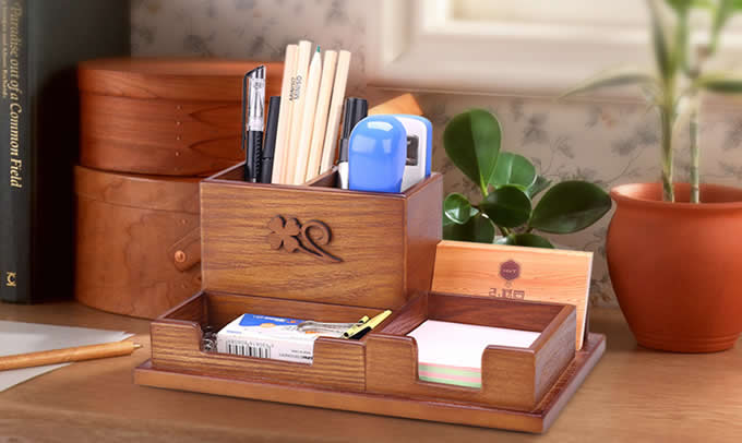 Wooden Desk Accessory Storage Organizer Pen Holder