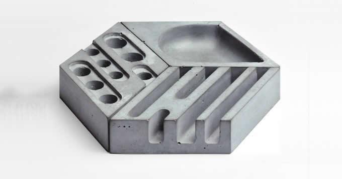 Concrete  Office Desk Organizer Desktop Accessories Set