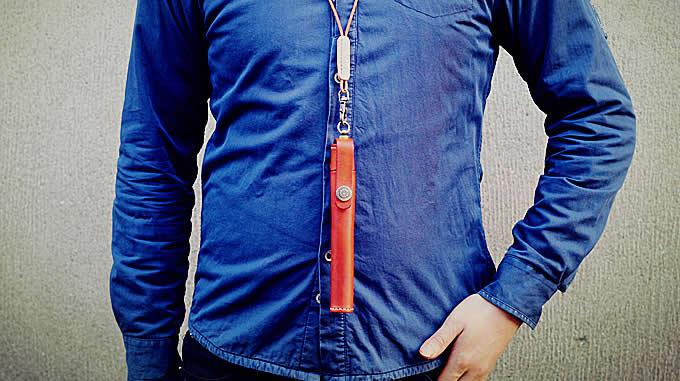Cylinder Shaped Leather Single Pen Case
