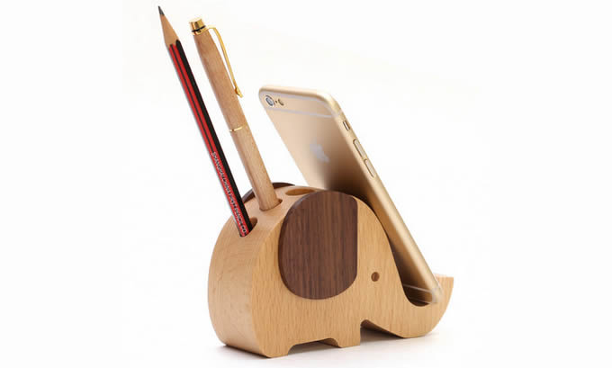 Wooden Pen Stand Designs : Wooden elephant shaped pen holder mobile phone display
