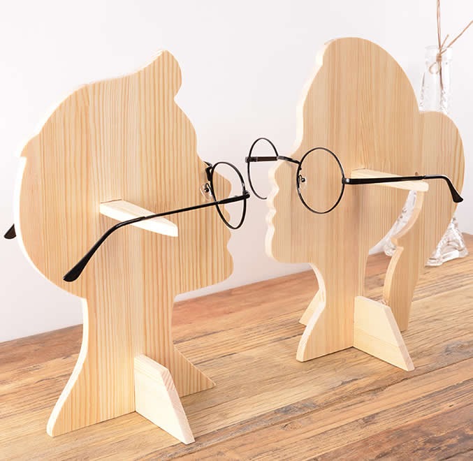 Wooden Human Head  Shaped Sunglasses Glasses Holder / Spectacle Display Stand