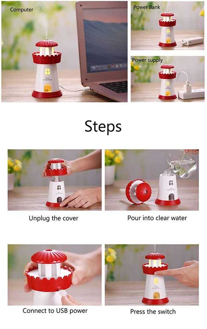 Mini Portable Desktop Air Humidifier USB Mist Humidifier Night Light
