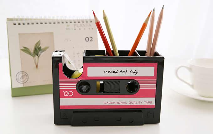 Retro  Cassette Pen Pencil Holder Desk Organizer