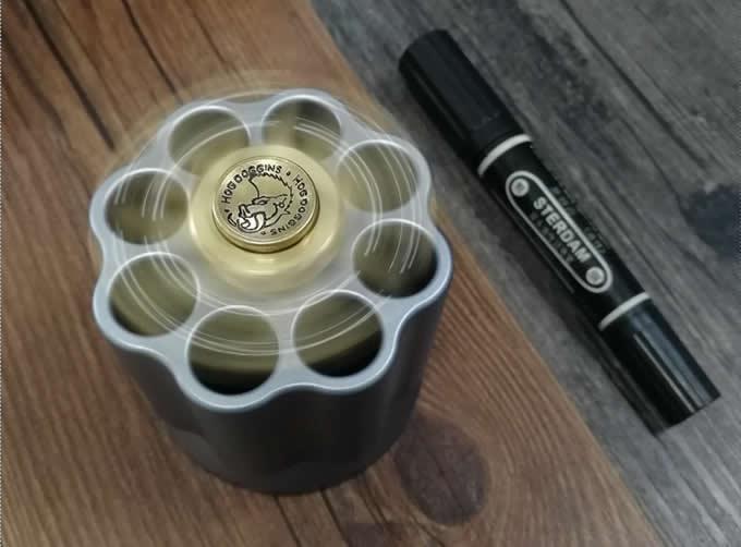 Revolver Chamber  Rotating 304 Stainless Steel Pen Holder