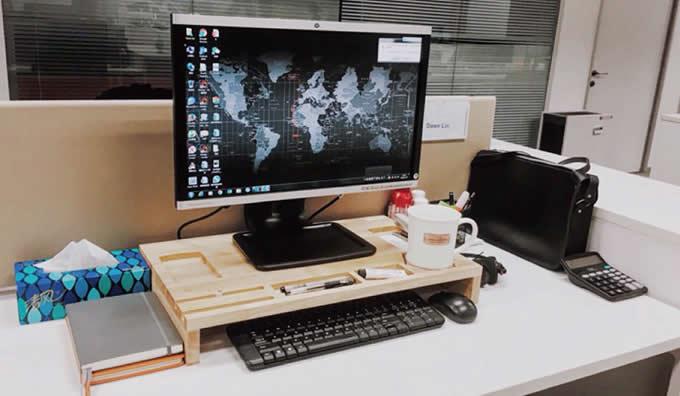 Multi Purpose Wood Monitor Stand Storage Organizer Feelgift