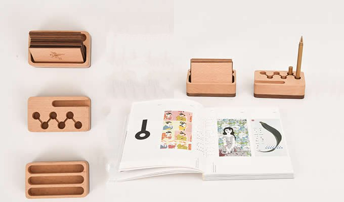 Wooden  Pen / Pencil Holder   Bussiness Card Display Stand Office Supplies Organizer Set,3pcs