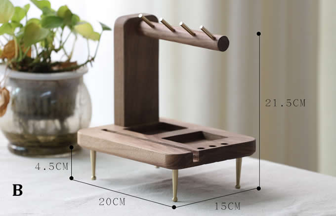 Black Walnut Wooden Key Rack Desk Organizer  Pen Pencil Holder Phone Stand Holder