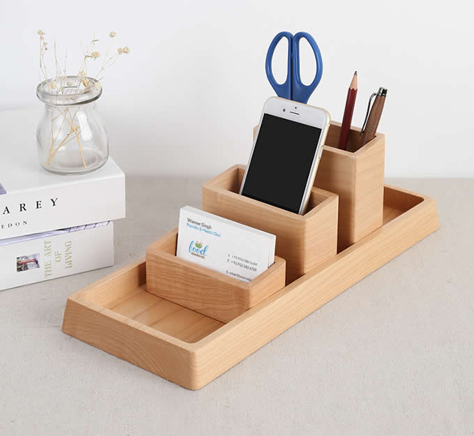 11 Cool Home Office Ideas For Men: Wooden Desk Organizer Home Office Accessories Set