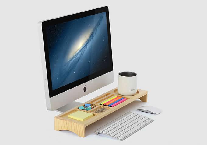 Wooden Desktop Organizer Over the Keyboard