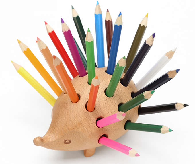 Wooden Hedgehog Pen Pencil Holder Desk Organizer