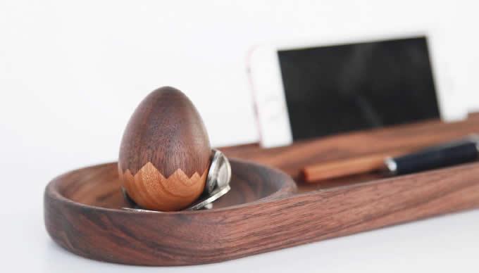 Wooden Magnetic Egg Paper Clip Holder Push Pin Holder  Dispenser Holder