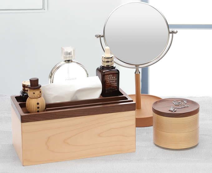 Wooden Multi-function Desk Organizer Tissue Box Storage Box
