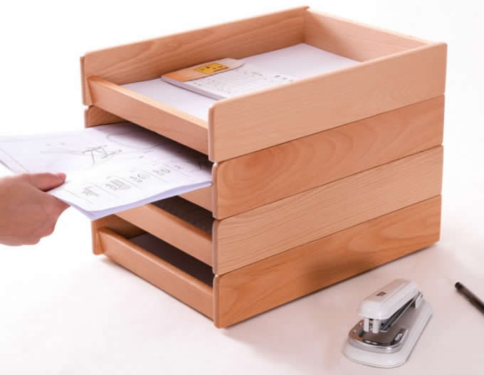 Wooden Office Desktop Files Collection Letter Tray A4 Print Papers Magazine File Holder Organizer Box