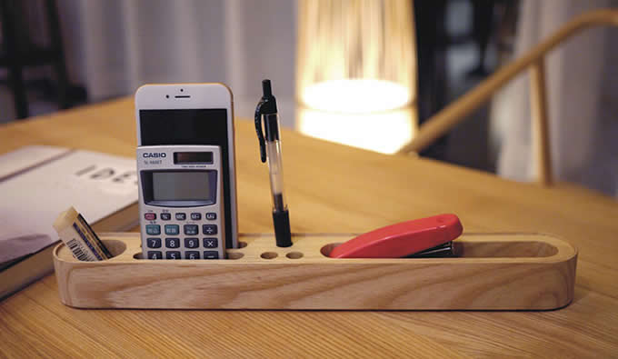 Wooden Office Supplies Storage Container for Pens, Pencil, Business Cards or Smartphones