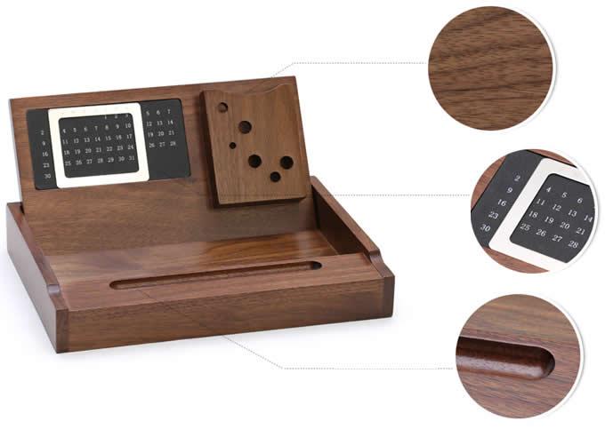 Wooden Multi Function Desk Stationery Organizer Storage