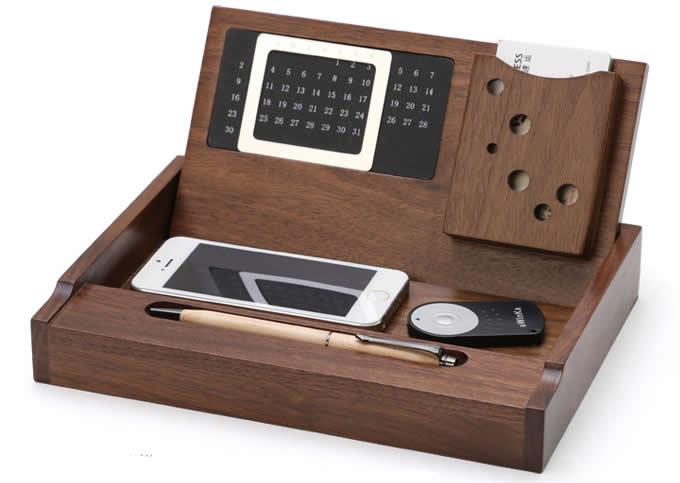 Wooden Multi Function Desk Stationery Organizer Storage Box With