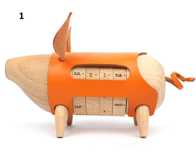 Wooden Pig Shaped Perpetual Calendar