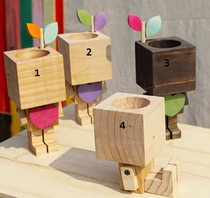 Wooden Robot Pen Pencil Phone Holder Desk Organizer Flowerpot