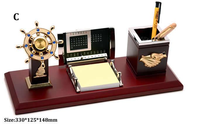 Wooden Ship Wheel Desk Organizer Pen Pencil Holder