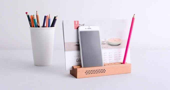 Wooden SmartPhone Speaker Sound Amplifier Stand Dock  Pen Pencil Stand Holder Photo Card Holder