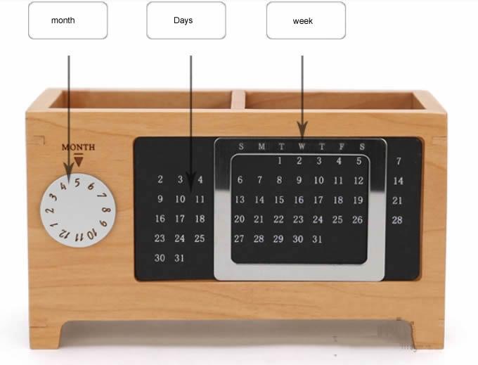 Wooden Struction Multi Function Desk Stationery Organizer