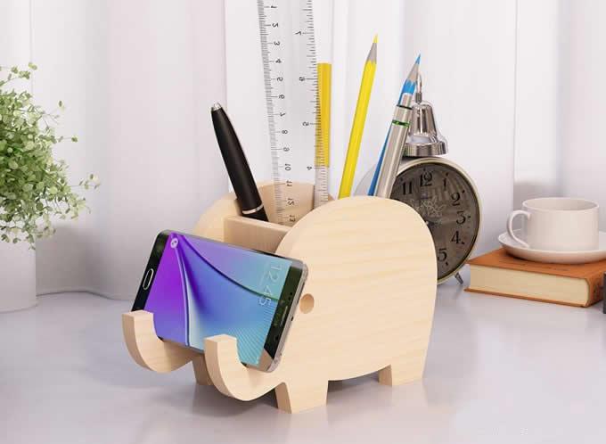 Wooden Whale & Elephant PenHolder PhoneHolder Stand