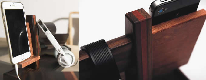 Wooden iPhone Docking Station with Watch Stand