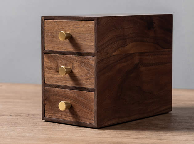 Pastoral Black Walnut Wood Office Desk Organizer with Drawers