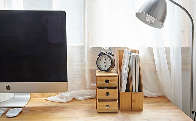 Bamboo Desk Organizer with Drawers